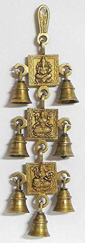 Shubh Labh Dio Ganesha/Ganesha parete appesi con campanelle in metallo in ottone per porta Decor, Shri Ganesh Laxmi Ji & Saraswati-7Bells