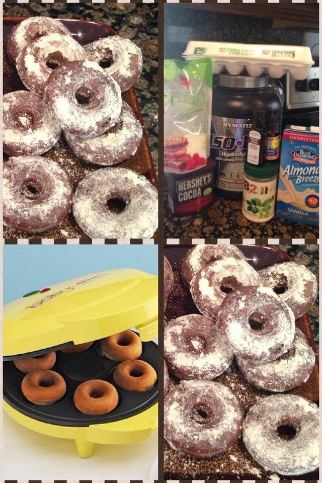 Protein Donuts (Chocolate)   1/4 cup van almond milk (40) calories  1/4 cup egg whites  1 tbsp coco powder (special dark)  2 scoops of protein 1 isolate and 1 casein chocolate  1 tsp of maple or vanilla extract  2-3 packs Stevia or truvia or liquid stevia witch what I used  2 tbsp of pb2   Mix all the above in a blender or use a blender bottle the cook in donut maker for 4 min   Sprinkle with truvia mix   This makes 8 small donuts each one is,  Cal 40, fat 0, carbs 1.6g, protein 7g