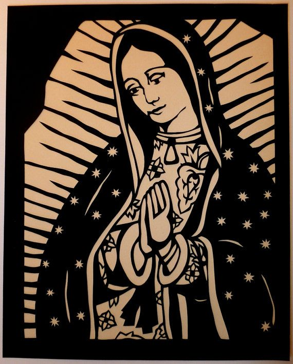 Our Lady of Guadalupe Hand Cut Paper Cut  8x10 by AmyBirnbaum, $70.00