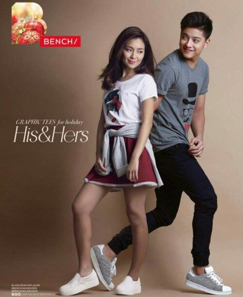 This is the pretty Kathryn Bernardo and the handsome Daniel Padilla smiling for the camera while doing a commercial endorsement photo shoot for Bench for Christmas 2015 and New Year's Day 2016. Indeed, KathNiel is my favourite Kapamilya love team, amazing Star Magic talents, and amazing commercial models. Bench is one of my favourite Filipino brands of unisex casual clothing. #KathrynBernardo #TeenQueen #DanielPadilla #KathNiel #KathNielBernaDilla #KathNielforBench #BenchPH