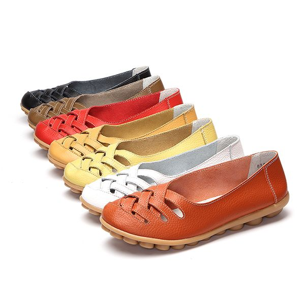 Large Size Hollow Out Leather Loafers Moccasin Casual Flat Shoes