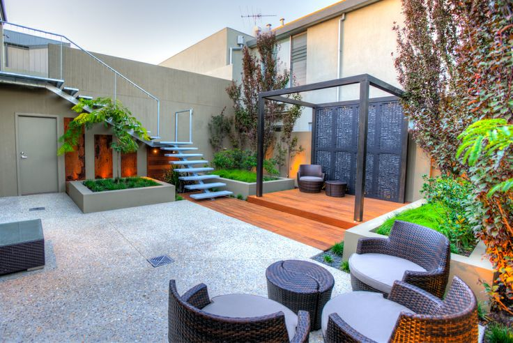 decking and stained pergola