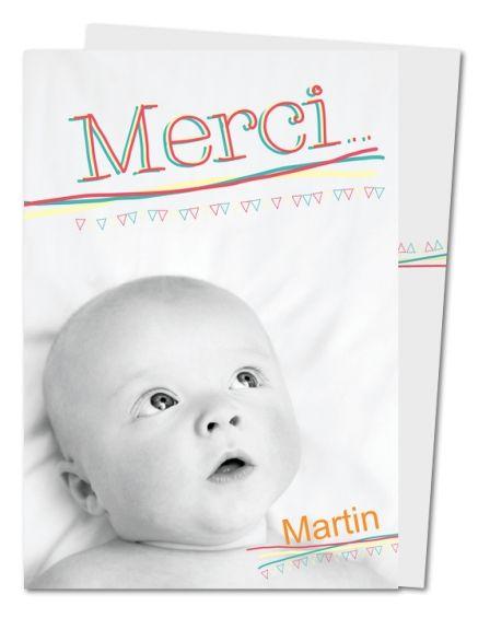 Carte de remerciement naissance Lignes et triangles (PRV-106)