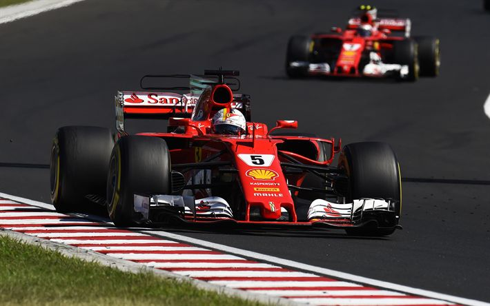 Download wallpapers Formula 1, Sebastian Vettel, racer, racing car, Ferrari SF70H, Scuderia Ferrari