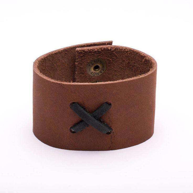 Bracelet Tan Leather X Stiching Snap Closure