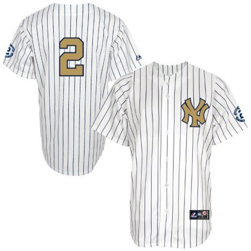 Majestic Derek Jeter New York Yankees White Gold Jersey with Retirement Patch #yankees #mlb #nyy