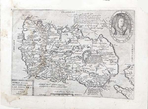 LOT:575 | Matthias Quad, Cologne, 1557-1613 Hiberniae Britanicae insulae nova decripto Eryn Irlandt A map of Ireland, taken from Quads Europe Totius Terrarum, circ 1596 The map is a direct copy of the Ortelius map and is initialed IB at the bottom left Text verso Engraving, 270 x 360mm Abl P.221