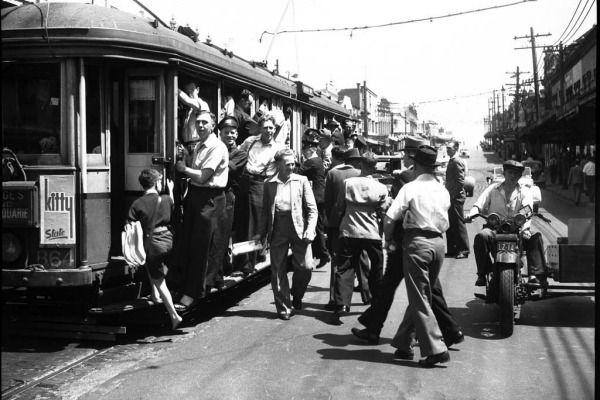 A tram stop on Parramatta Road at Leichhardt.