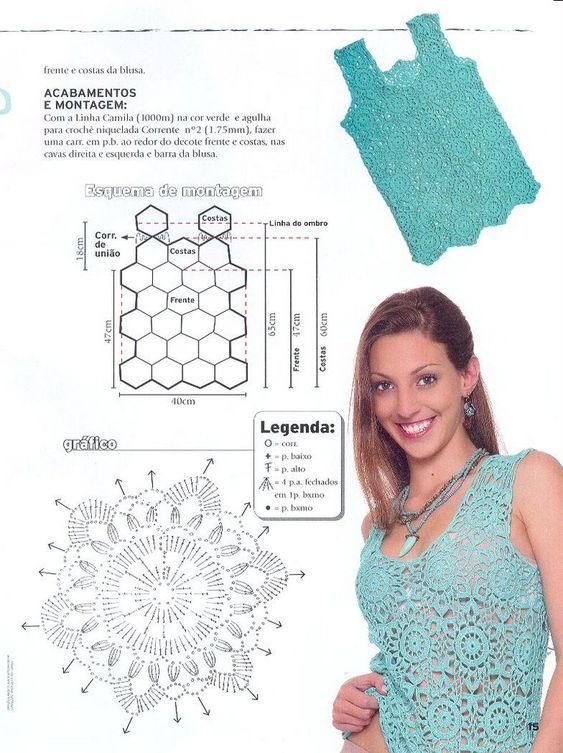 60 Blusas para verano en crochet | mujeres | Pinterest | Croché ...