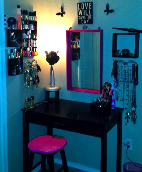 73 best diy little girls vanity play makeup images on pinterest dont love this but going to steal the idea of nail shelf and hang jewelry by makeup vanity solutioingenieria