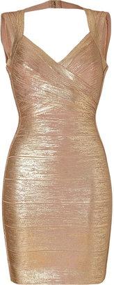 *: Herve Leger Gold-Nude Shimmer Bandage Dress