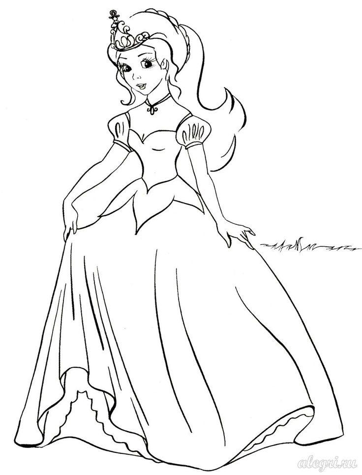Раскраска. Принцесса | Раскраски, Рисунки для ...