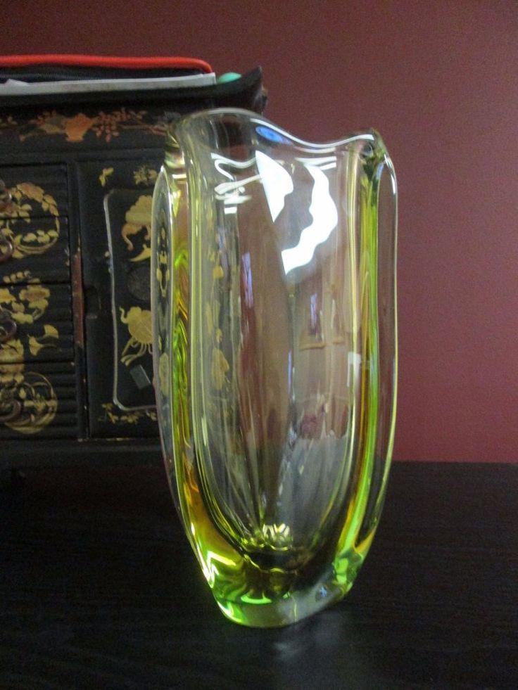 MID CENTURY CHALET LORRAINE ART GLASS Uranium Vaseline VASE GREEN & Smokey Topaz #MidCenturyModern #ChaletArtisticGlass