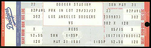 MAY 31 1981 LOS ANGELES DODGERS VS CINCINNATI REDS FULL TICKET NM FREE SHIPPING