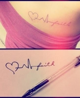 Her heart beat tattoo <3