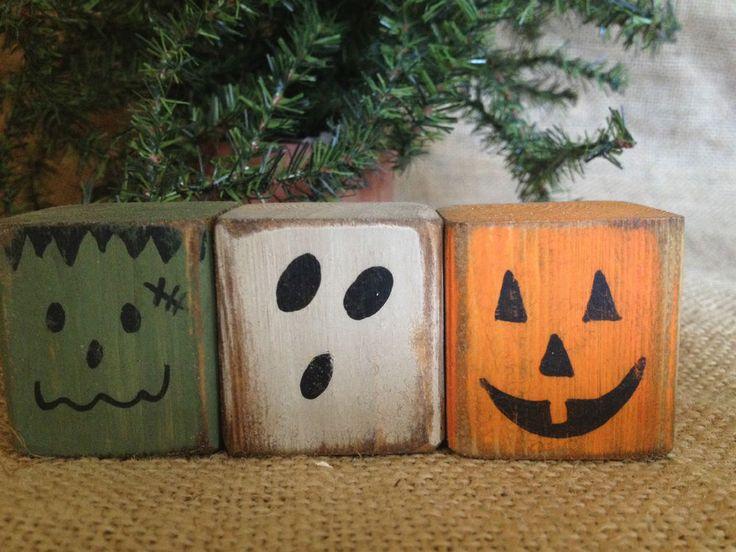 Primitive Halloween Monster Pumpkin Ghost Convo Shelf Sitter Cube Block Set  #PrimitiveCountry #DoughandSplinters