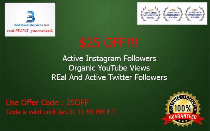 $25 OFF!!! Buy Real and Active Twitter Followers Buy High Retention Youtube Views Buy Real and Active Instagram followers Use Promo Code: 25OFF https://buyfollowersbuyviews.com  #SEO #GrowthHacking #DigitalMarketing #MakeYourOwnLane #Coupons #Discounts #Promo #Twitter #YouTube #Instagram