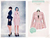 The Secret Store - Claire Peplum Blazer - Pink Streaks