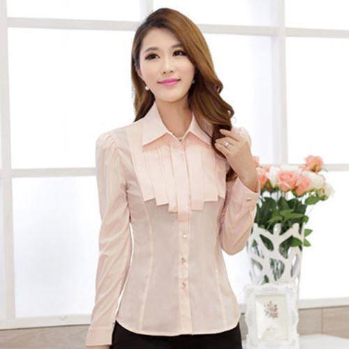 Fashion Office Work Wear Solid Color Chiffon Fabric Size M-2Xl Shirt For Women