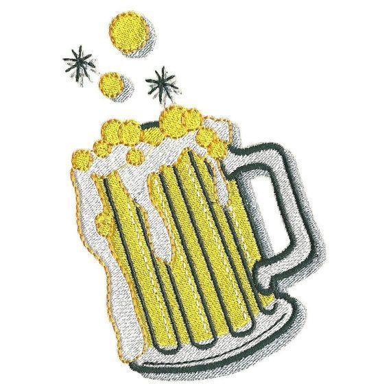 Beer machine embroidery design. Big beer mug by Embroidalot