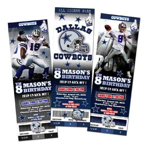 Dallas Cowboys Birthday Party Invitations Ticket NFL - Digital File custom personalized football. $11.99, via Etsy.