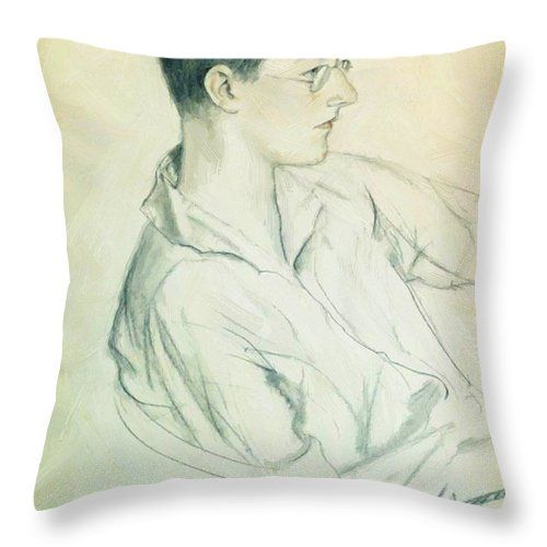 Portrait Throw Pillow featuring the painting Portrait Of Composer Dmitri Shostakovich In Adolescence 1923 by Kustodiev Boris