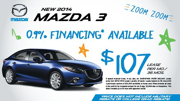 "Peruzzi Mazda ""SUMMER SAVINGS JULY JAMBOREE"" Sales Event! ~ NEW 2014 MAZDA 3 ~ 0.9% FINANCING AVAILABLE ~ $107 a month lease for 36 months ~ Stop by and take one for a test drive today! 855-315-7600 http://www.peruzzimazda.com/ ZOOM ZOOM"