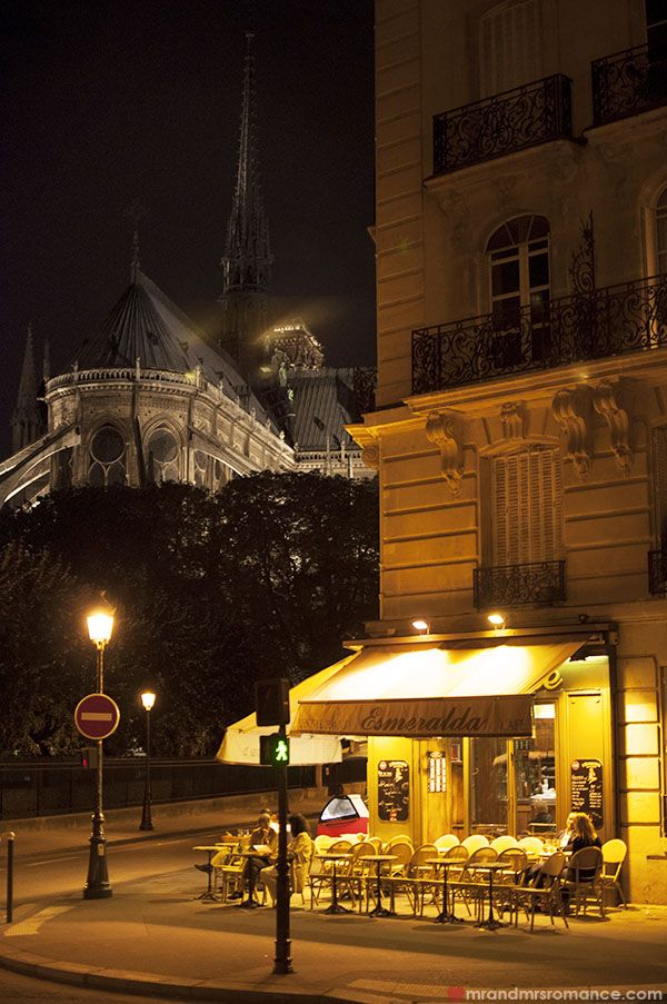 Paris - cafe at night by Notre Dame
