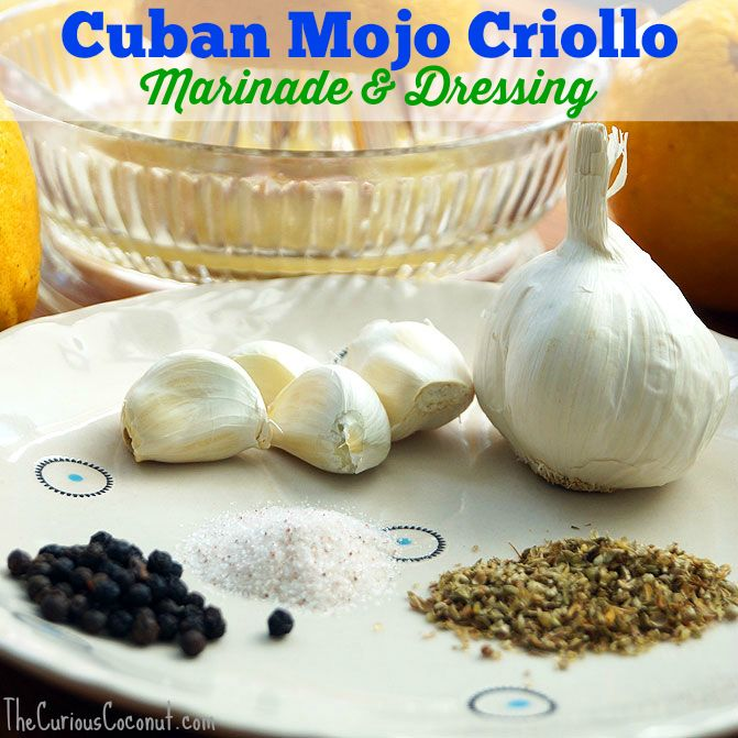 Mojo Criollo is a traditional Cuban sauce made with sour orange juice and  garlic. It's a versatile marinade for meats and veggies and also works well  as a raw dressing for slaw. It is easy to whip up a big batch and freeze in  portions, too!