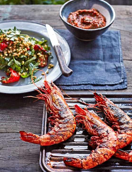 how to cook green prawns on bbq