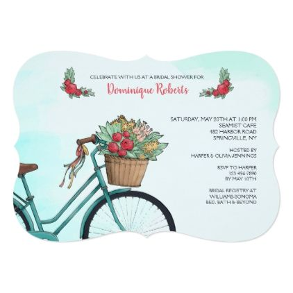 Bicycle With Flowers Invitation - spring wedding diy marriage customize personalize couple idea individuel