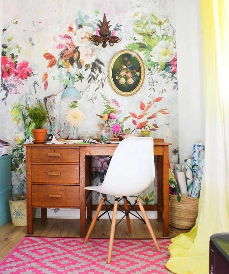 Floral Wallpaper Office Cute Desk With Images Eclectic Style