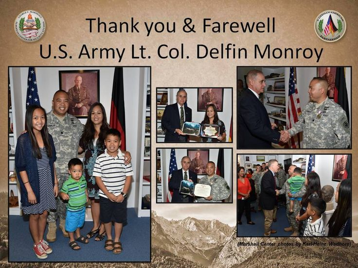 U.S. Army Lt. Col. Delfin Monroy was awarded the Defense Meritorious Service Medal for his duties as the Deputy Chief of Staff and Secretary of the Joint Staff at the George C. Marshall European Center for Security Studies from July 2, 2012 to July 31, 2015 during an awards ceremony held July 27. His wife received a Certificate of Appreciation for her volunteer efforts with the Garmisch Elementary and Middle School Parent Teacher Association.(Marshall Center photos by Karl-Heinz Wedhorn)