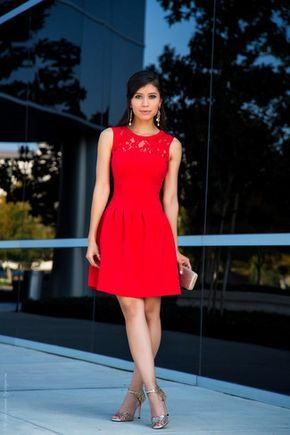 Zapatos mujer vestido rojo
