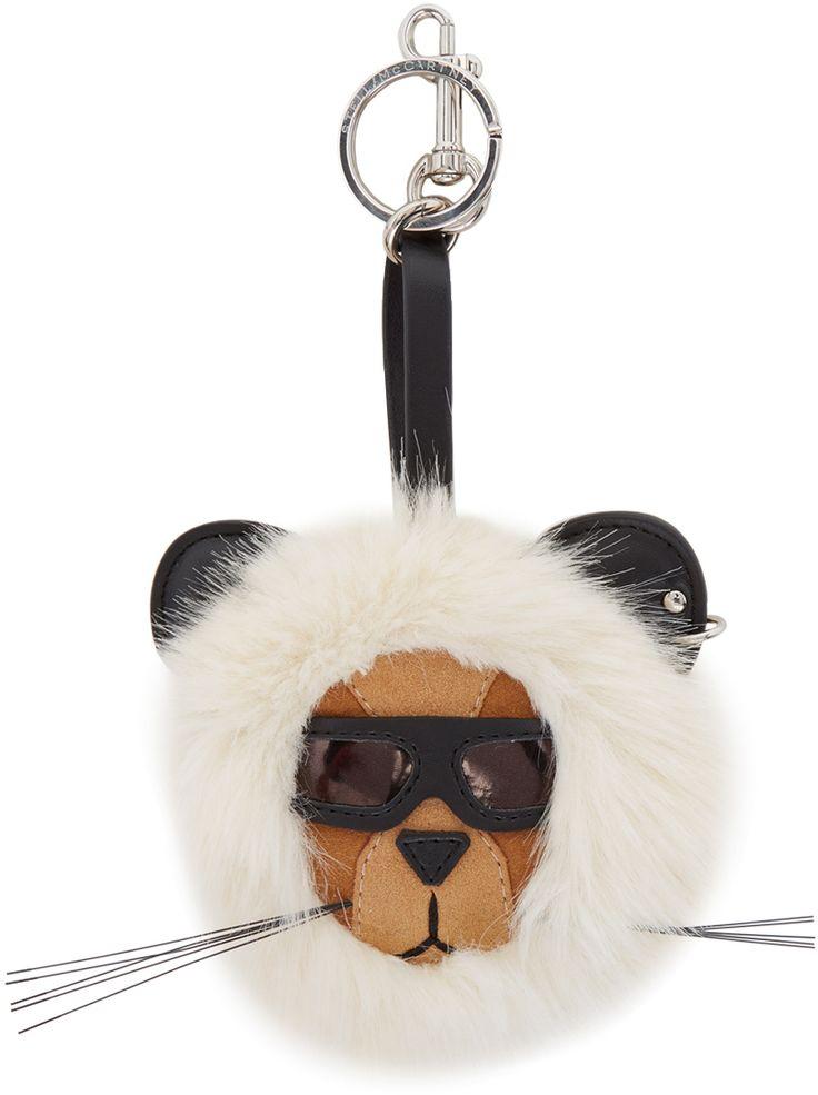 Stella McCartney - Porte-clés blanc cassé 'Fur Free Fur' Lion