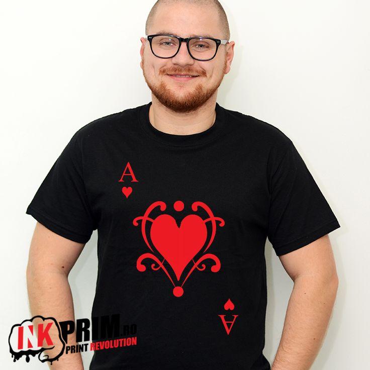 Tricou Personalizat, pentru fete si baieti cu modele din cartile de joc - AS - Inimă Roșie