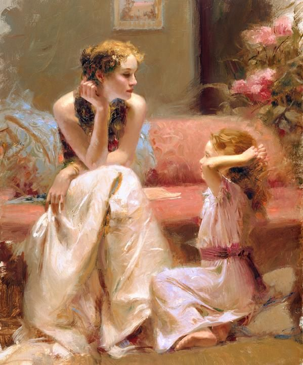 Think of you    Pino Daeni – Italian artist, his art and canvases elicit feelings of warmth, nostalgia, love and family.  Pinois noted for his exceptional ability to capture the movements and expressions of his subjects – a talent which has brought his artwork a worldwide following and private commissions to do portraits.