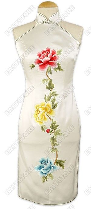 Enticing and sensual, this Women's White Silk Embroidered Peony Dress will take your breath away!...