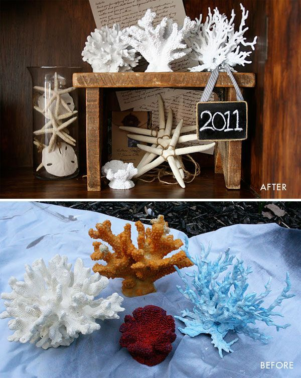 DIY - Coral purchased at pet & aquarium stores and spray painted using Rust-Oleum's Gloss White.