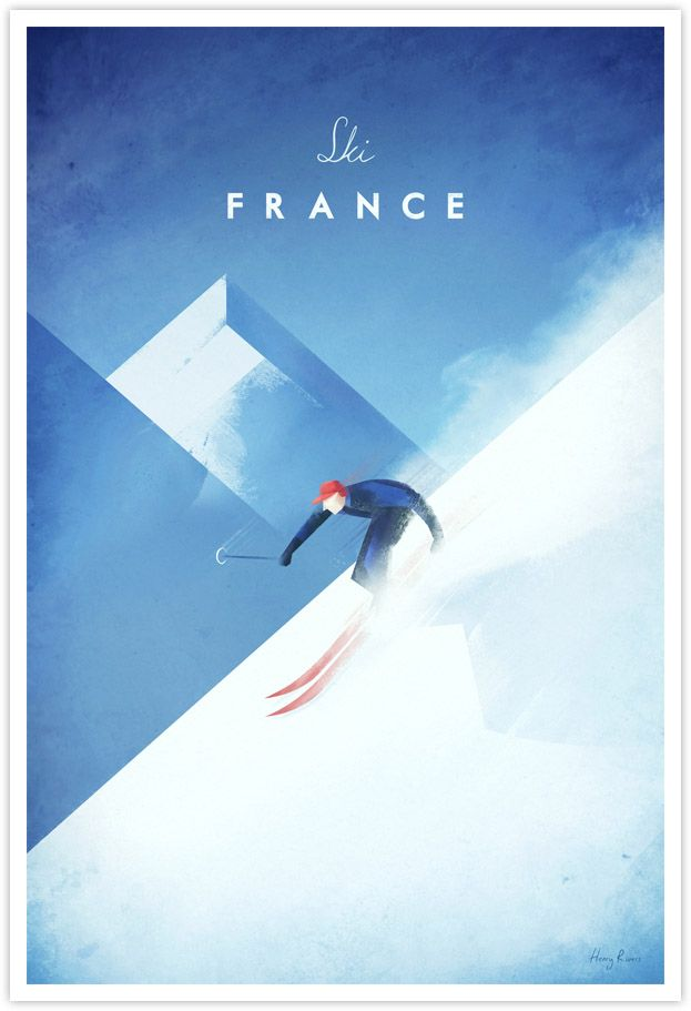 Vintage ski poster of the French Alps by Henry Rivers / Travel Poster Co.