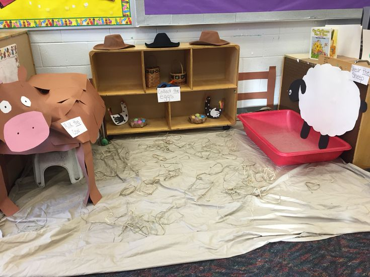 Farm center. They will milk the cow, gather the eggs from the chickens, and shear the sheep (using shaving cream!)
