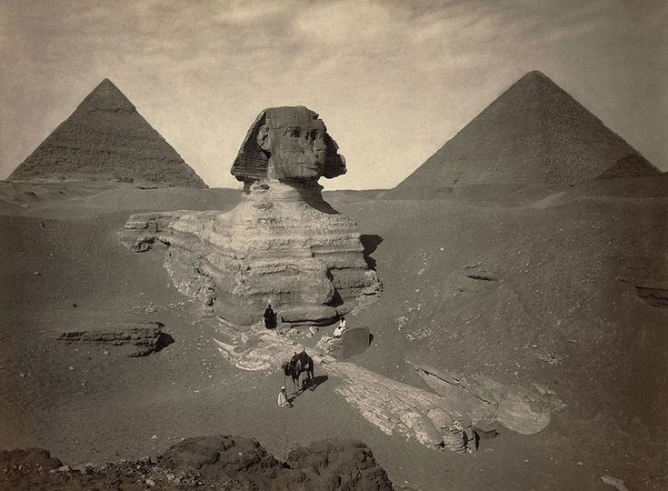 The Sphinx of Giza, partially excavated, with two pyramids in background, Egypt, 1867-1899.  Source: Library of Congress