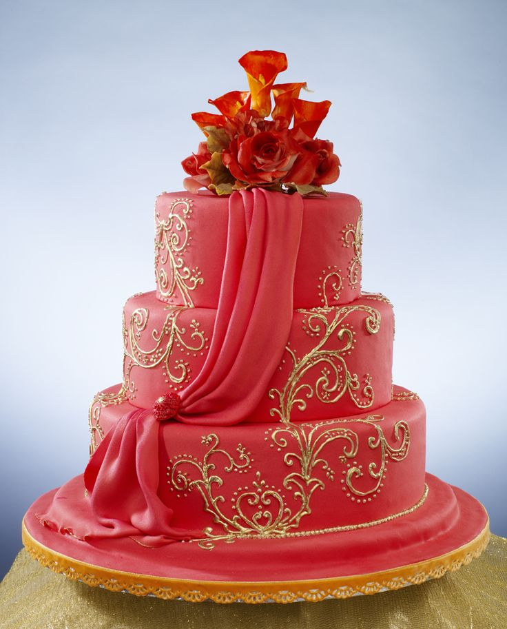Indian Wedding Cake- Flowing, Glowing Red!