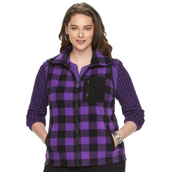 Plus Size Chaps Buffalo Check Fleece Vest (41 CAD) ❤ liked on Polyvore featuring plus size women's fashion, plus size clothing, plus size outerwear, plus size vests, plus size, purple, womens plus size vests, purple waistcoat, plus size vest and plus size fleece vest