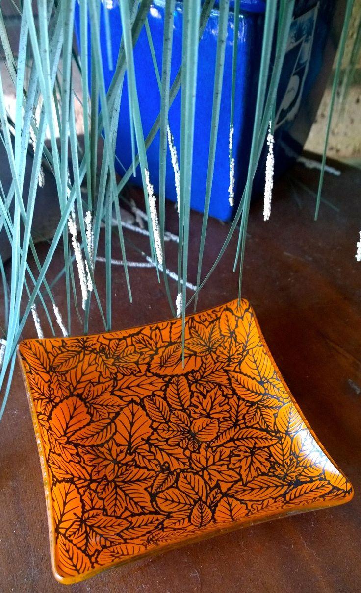 Square Glass Plate - Vintage  Ashtray, Platter:  Leaf Design - Orange/Black by TheBusyTipsyGipsy on Etsy