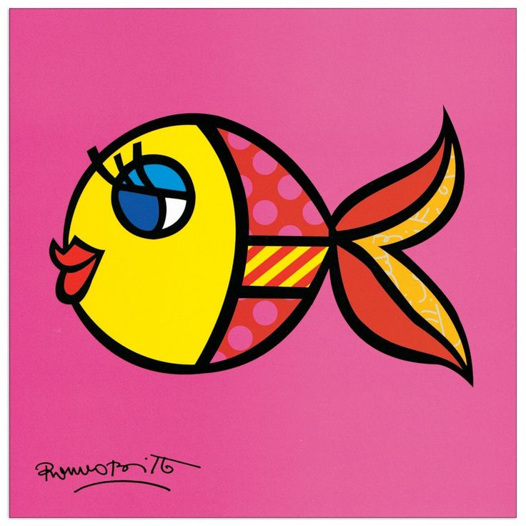 BRITTO - Swimmingly Pink 19x19 cm #artprints #interior #design #art #print #animals  Scopri Descrizione e Prezzo http://www.artopweb.com/EC18438