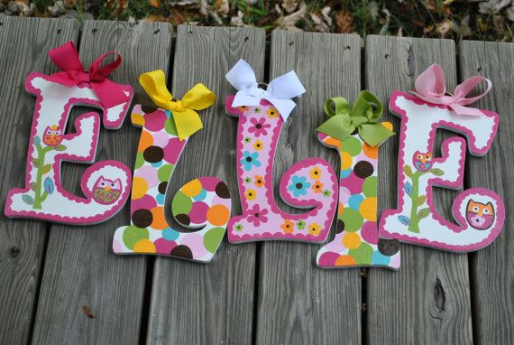PARTY OWL Handpainted Letter set M2M by TheJellyBeanJunction, $12.99