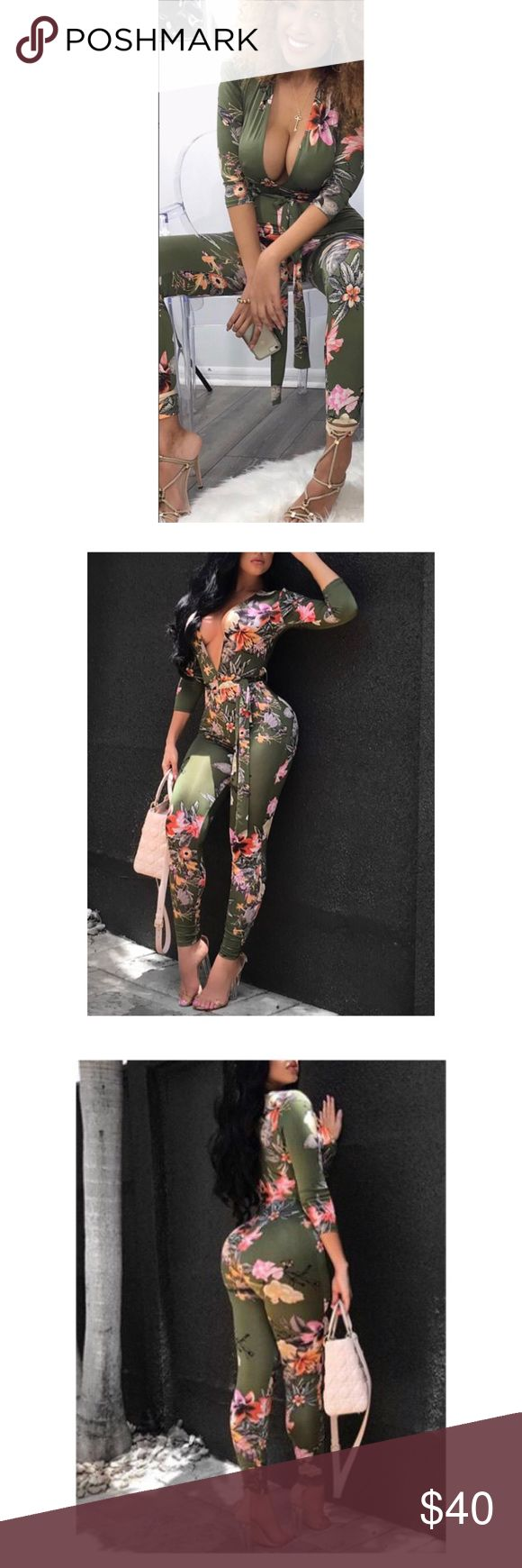 Olive Floral Jumpsuit NWOT. Purchased from a boutique in Miami, never worn, I love it but it's gotta go! Every pattern was a little different but still basically the same. True to size medium. I will be recording myself packing and shipping items at the post office 💕 Pants Jumpsuits & Rompers
