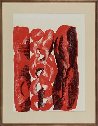 """KNUT RUMOHR FRØNNINGEN, LÆRDAL 1916 - OSLO 2002  """"Befrielse"""" 1969 Fargetresnitt, 23/30. 58x44 cm Signert og datert nede til høyre: Knut Rumohr -69"""