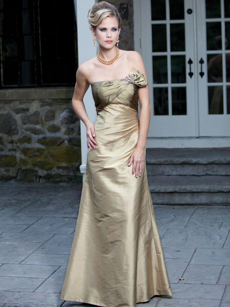 Empire waist short sleeve taffeta charming bridesmaid gown